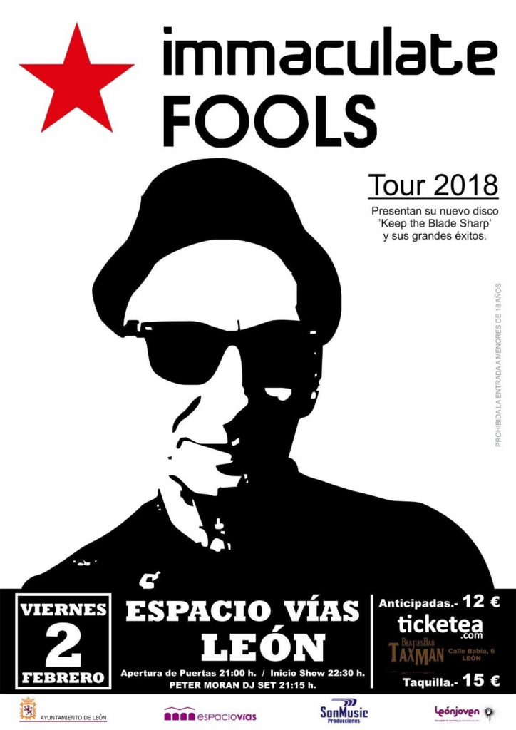 Poster for Immaculate Fools concert in Leon,Spain on February 2nd 2018